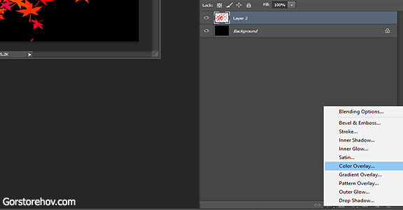 Делаем маску - применим эффект Color Overlay