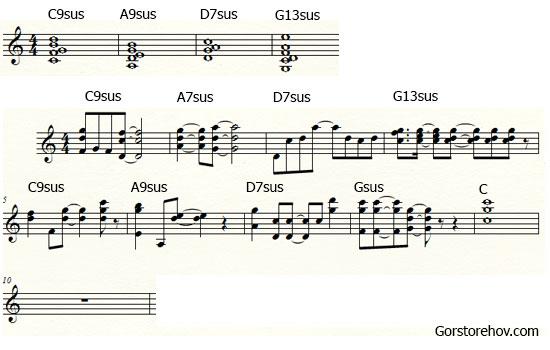 Как применить аккорды с задержанием