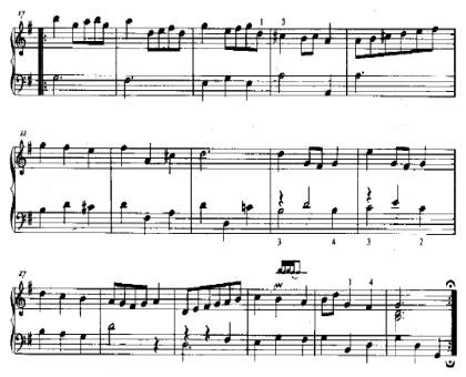 Анализ музыкального произведения Menuet BWV Ahn. 114 часть вторая