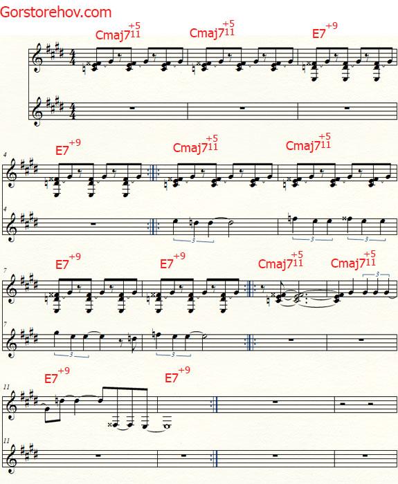 Музыка с мелодией в гармоническом До мажоре