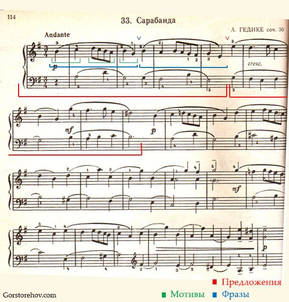 Сарабанда Гедике соч. 36 Николаев ноты