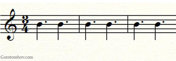 Ритм в размере три четверти