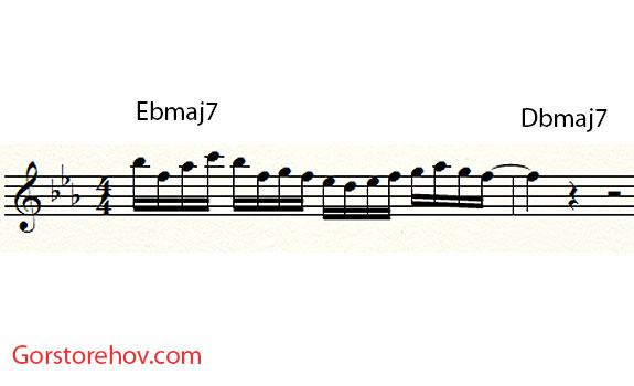 фраза для аккорда Ebmaj7