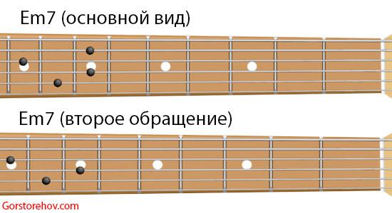 септаккорд Ми минор семь на гитаре и его второе обращение