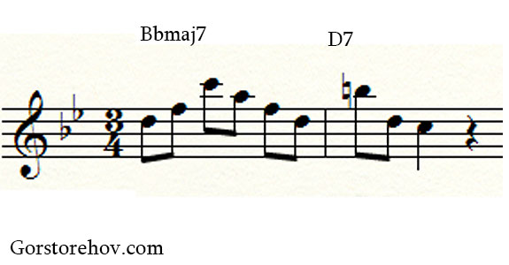 Фраза на аккорды Bbmaj7 и D7