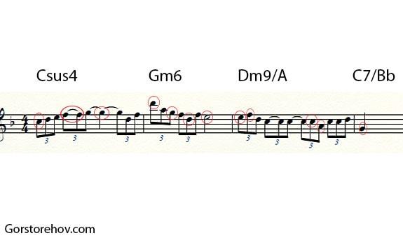 Продолжение исходной мелодии с аккордами