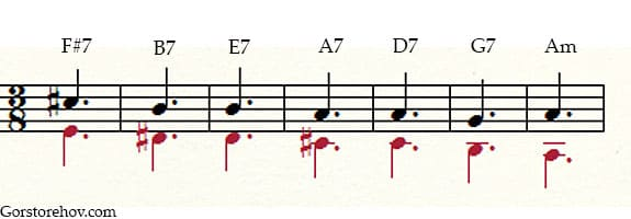 Красивое сочетание аккордов пример 1