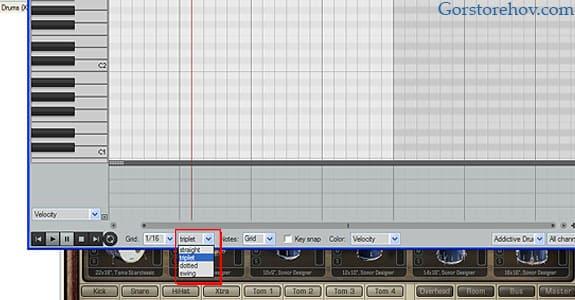 Создание триолей в piano roll