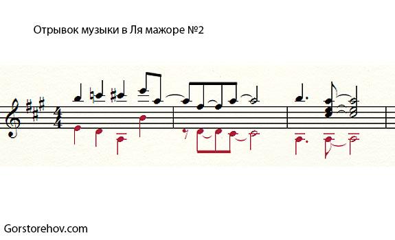 Второй отрывок музыки в Ля мажоре