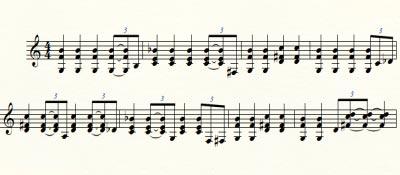 ноты блюза в Соль-мажоре первый вариант
